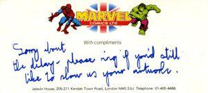 Marvel UK Compliment Slip