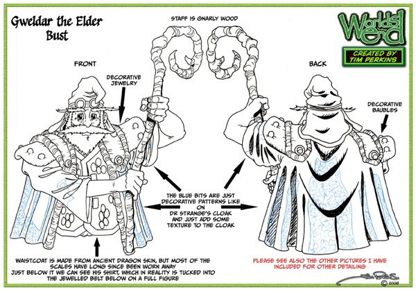 Gweldar Turnaround Bust Concept Drawing 01