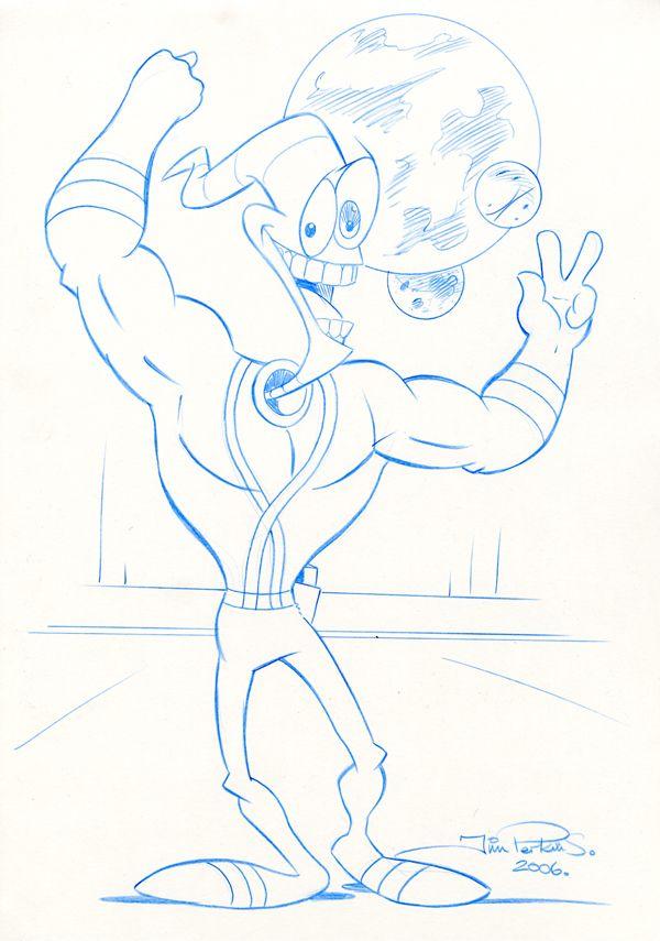 EarthWorm Jim Pencil Sketch 001