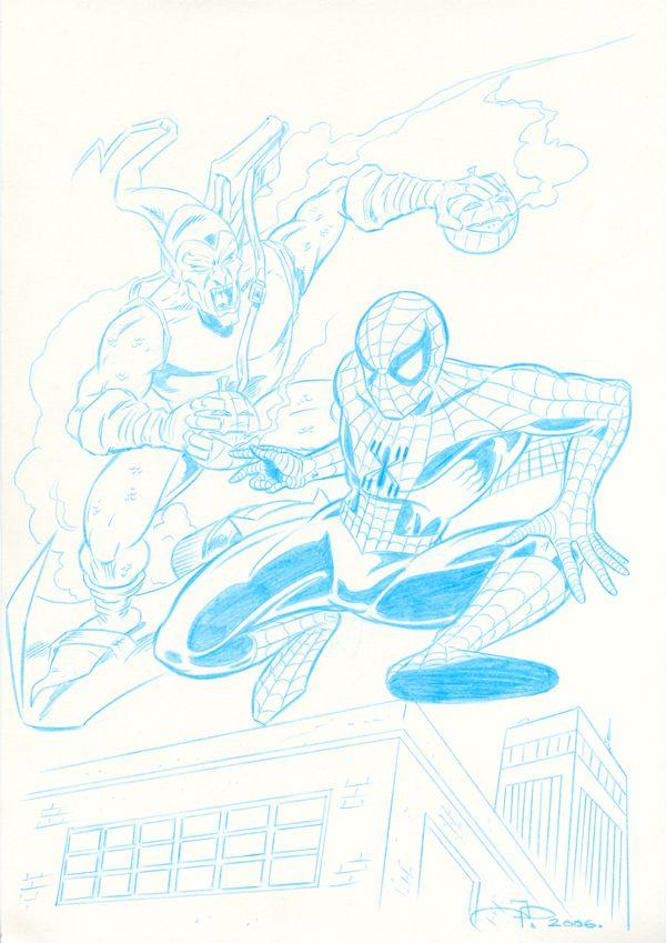 Spider-man vs the Green Goblin Pencil Sketch