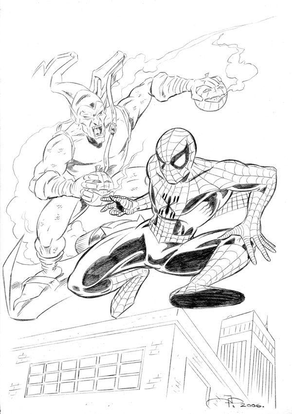 Spider-man vs the Green Goblin Pencil Sketch - Greyscale