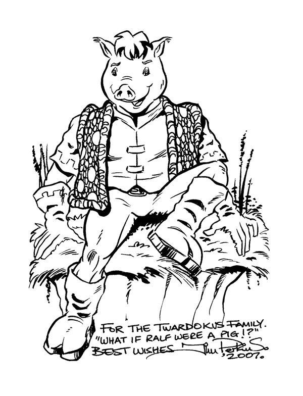 Twardokus Pig - Ralf pencil, brush & ink sketch
